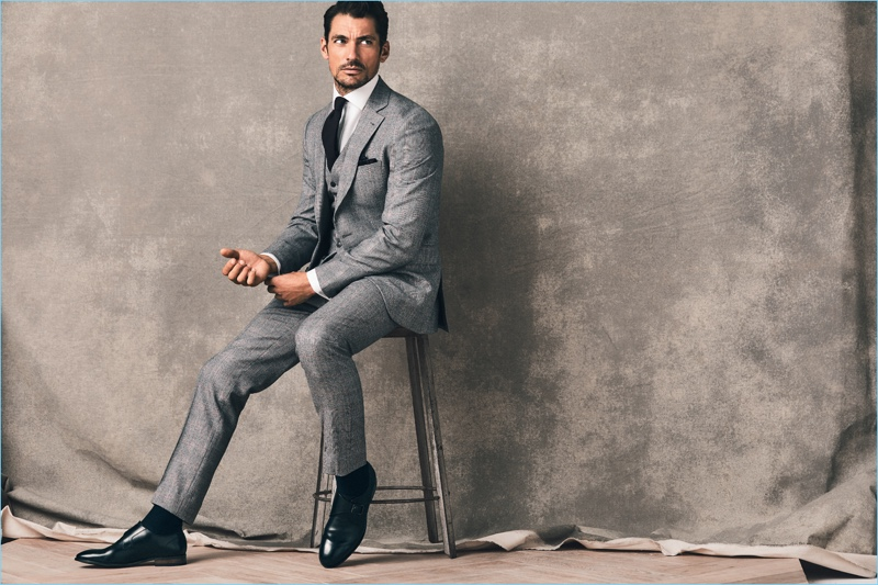 Embracing a sartorial flair, David Gandy suits up in tailoring from his Marks & Spencer collaboration.