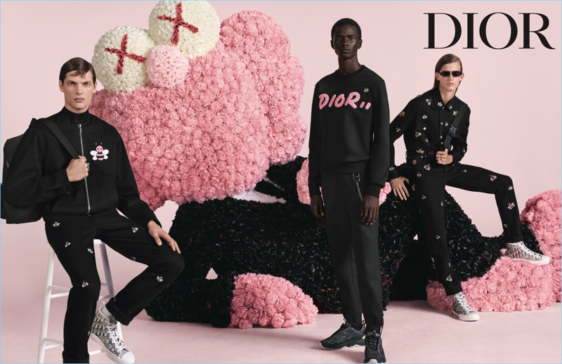 Valentin Caron, Malick Bodian, and Lukas Gomann front Dior Men's spring-summer 2019 campaign.