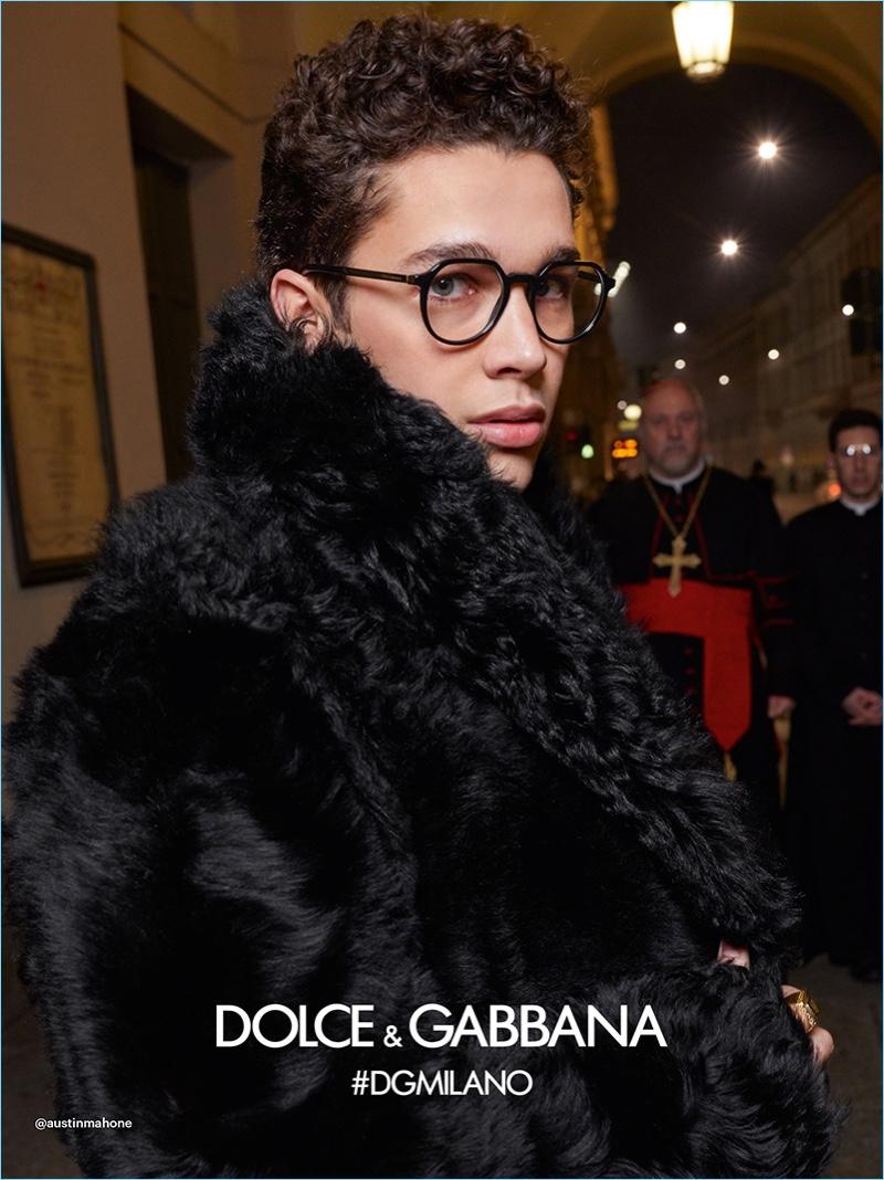 Austin Mahone appears in Dolce & Gabbana's fall-winter 2018 eyewear campaign.