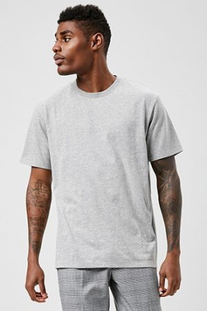 Dot Graphic Tee by 21 MEN Heather Grey/white
