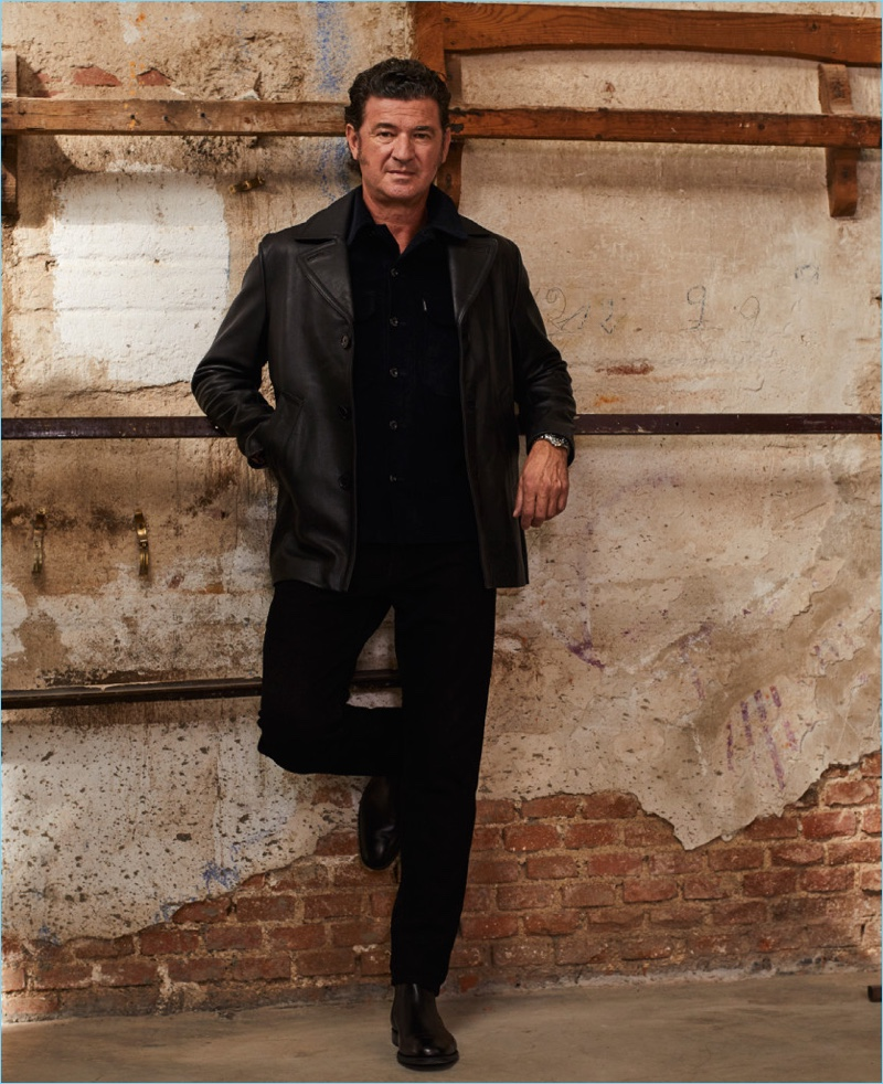 Julio Medem wears a leather jacket and all black for an El Pais Semanal photo shoot.