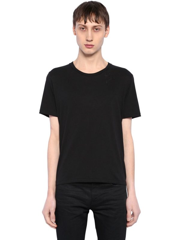 Embroidered Detail Cotton Jersey T-shirt