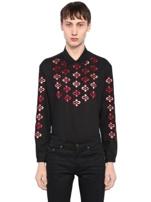 Embroidered Light Wool Twill Shirt