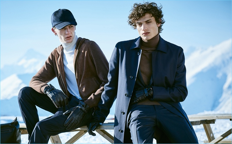 Finnlay Davis and Serge Rigvava wear fall-winter 2018 looks by Ermenegildo Zegna.