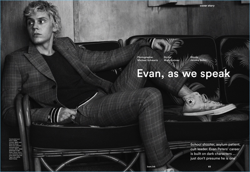 Actor Evan Peters wears a Dries Van Noten suit with a Haider Ackermann sweater. He also sports Converse sneakers.