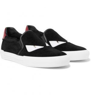 Fendi - Bag Bugs Leather-Trimmed Suede Slip-On Sneakers - Black