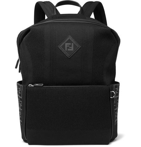 Fendi - Leather-Trimmed Mesh Backpack - Black
