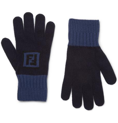 Fendi - Logo-Intarsia Colour-Block Wool and Cashmere-Blend Gloves - Blue