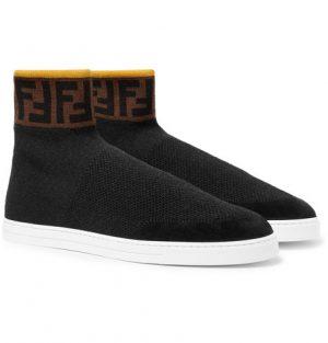 Fendi - Logo-Jacquard Suede-Trimmed Stretch-Knit High-Top Sneakers - Black