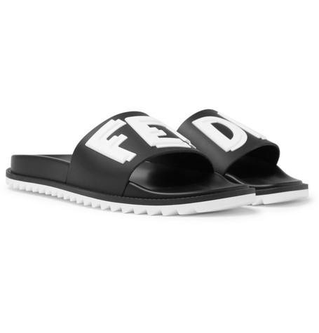 66db10b376ccb Fendi – Logo-Print Rubber Slides – Men – Black