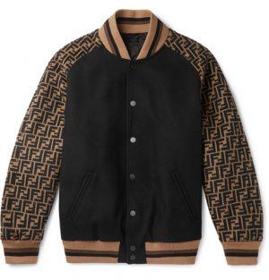 Fendi - Melton Logo-Jacquard Wool-Blend Bomber Jacket - Black