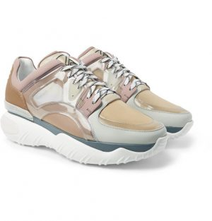 Fendi - Mesh, Leather, PVC and Rubber Sneakers - Sand