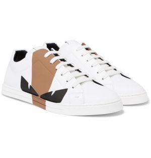Fendi - Printed Leather Sneakers - White