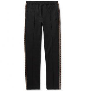 Fendi - Slim-Fit Webbing-Trimmed Cotton-Blend Sweatpants - Black