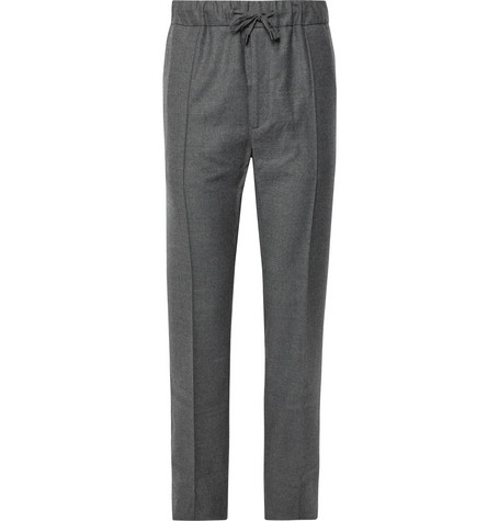 Fendi - Wool-Flannel Drawstring Trousers - Gray