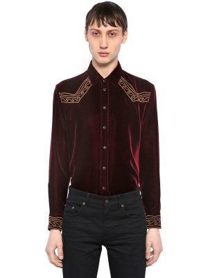 Folk Waves Embroidered Velvet Shirt