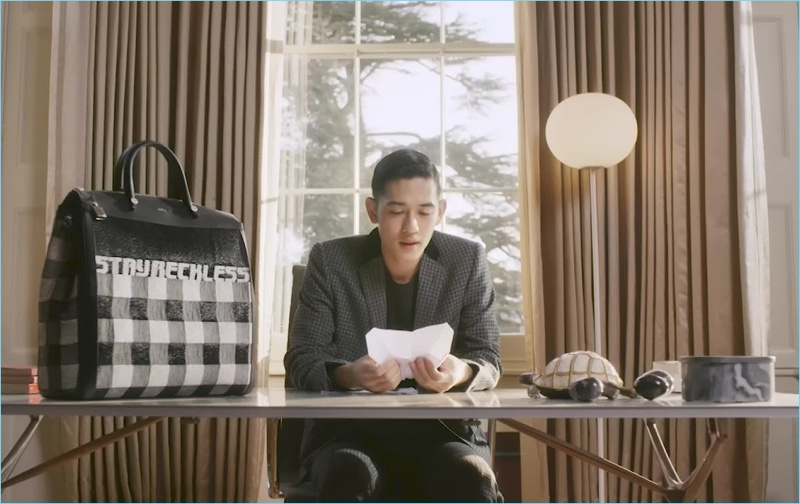 Model Keisuke Asano appears in a screen capture from his video for Furla.
