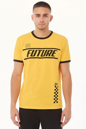 Future Graphic Ringer Tee by 21 MEN Yellow/black