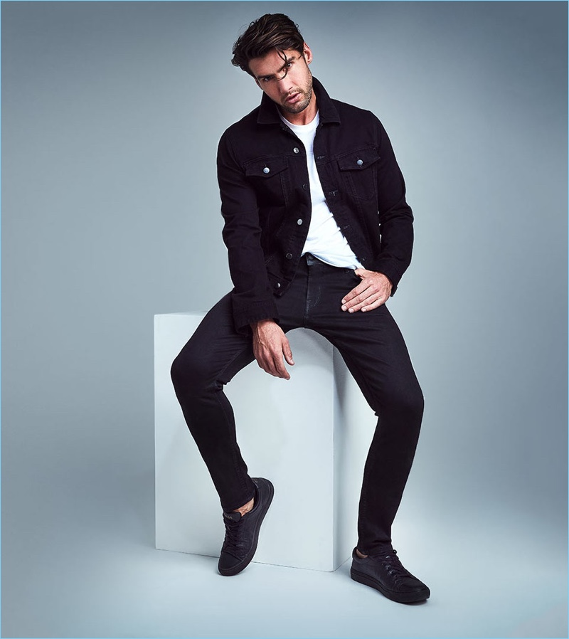 Front and center, Mitchell Wick wears super skinny-fit jeans from GUESS.