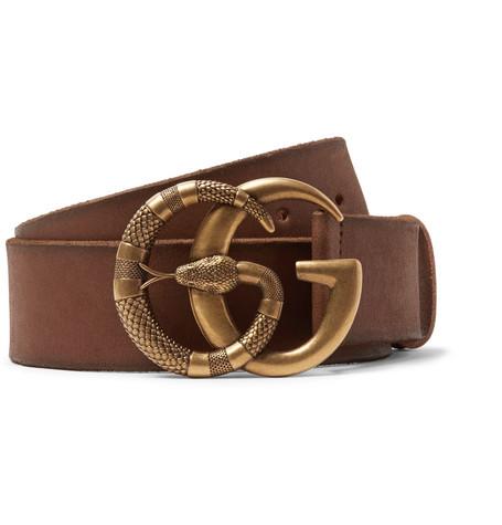 Gucci - 4cm Tan Burnished-Leather Belt - Brown