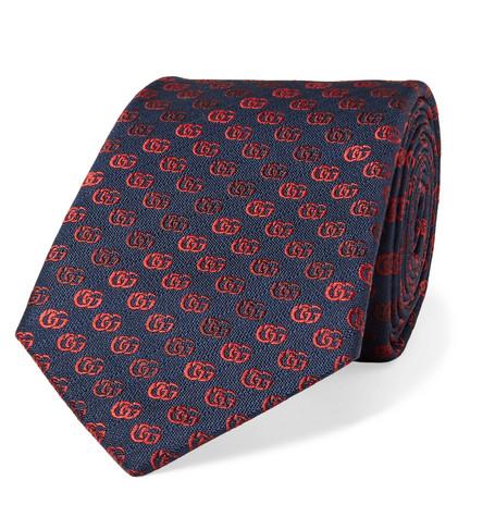 Gucci - 7.5cm Dégradé Embroidered Silk-Faille Tie - Midnight blue