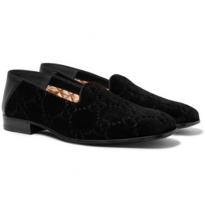 Gucci - Collapsible-Heel Leather-Trimmed Logo-Embroidered Velvet Loafers - Black