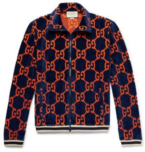 Gucci - Cotton Devoré-Velvet Track Jacket - Navy