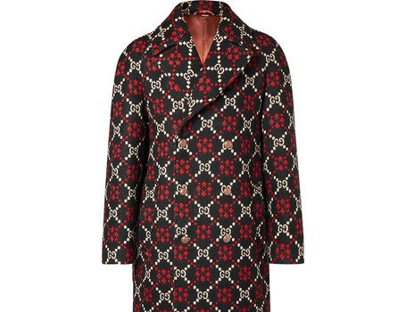 Gucci - Double-Breasted Logo-Jacquard Wool Coat - Black