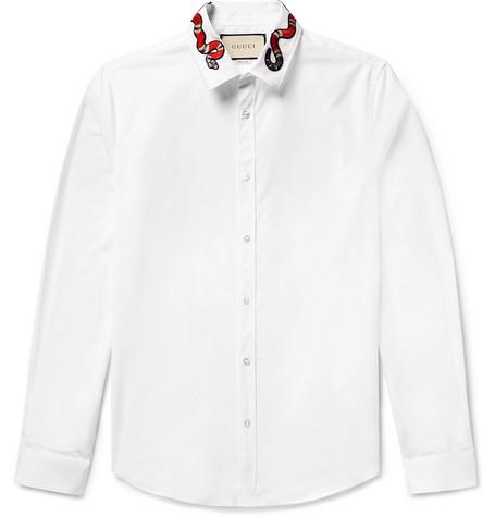 ed4e26ea Gucci – Duke Snake-Appliquéd Cotton-Poplin Shirt – White | The ...