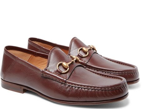 Gucci - Easy Roos Horsebit Collapsible-Heel Leather Loafers - Dark brown