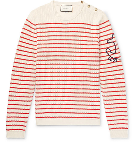 Gucci - Embroidered Striped Cotton and Cashmere-Blend Sweater - Cream