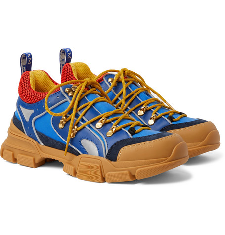 Gucci - Flashtrek Leather, Suede, Rubber and Mesh-Trimmed Nylon Sneakers -  Blue