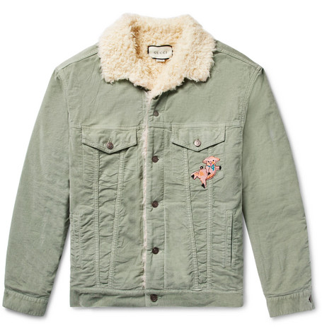 Gucci - Oversized Faux Shearling-Lined Embroidered Stretch Cotton-Corduroy Trucker Jacket - Light green