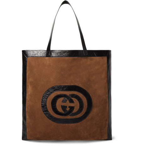 Gucci - Patent Leather-Trimmed Suede Tote Bag - Brown