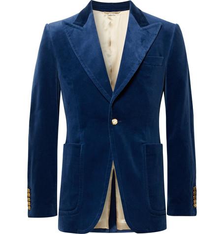 Gucci - Royal-Blue Slim-Fit Stretch Cotton and Modal-Blend Velvet Blazer - Royal blue