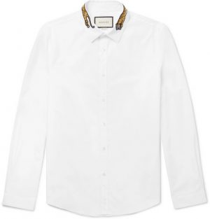 Gucci - Slim-Fit Tiger-Appliquéd Cotton-Poplin Shirt - White