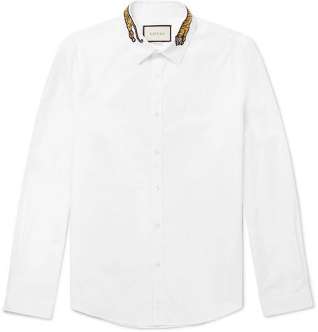 Gucci - Slim-Fit Tiger-Appliquéd Cotton-Poplin Shirt - White