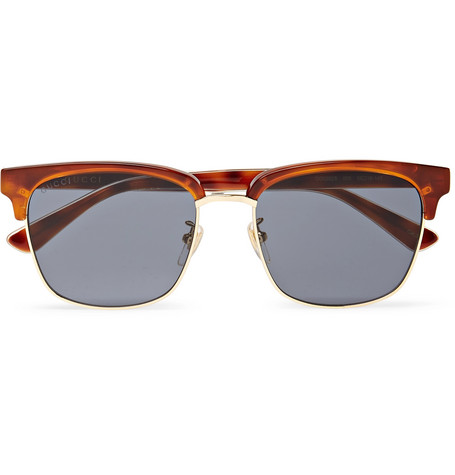 Gucci - Square-Frame Acetate and Gold-Tone Sunglasses - Tortoiseshell