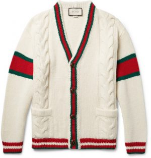 Gucci - Stripe-Trimmed Cable-Knit Wool Cardigan - Cream