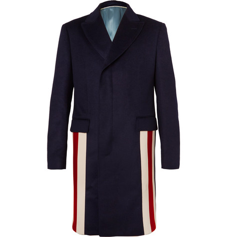 Gucci - Stripe-Trimmed Cashmere and Wool-Blend Coat - Navy