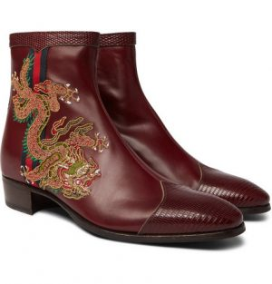 Gucci - Webbing-Trimmed Embroidered Leather Chelsea Boots - Red