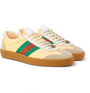 Gucci - Webbing-Trimmed Leather and Suede Sneakers - Yellow