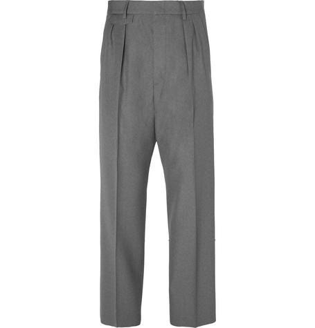 Gucci - Wide-Leg Pleated Wool Trousers - Dark gray