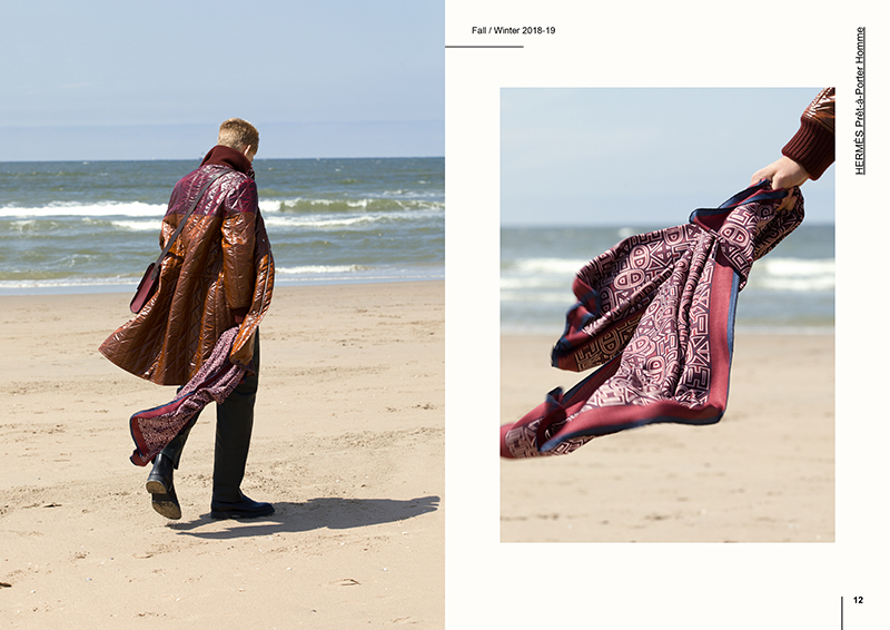 Walking along the beach with one of Hermès' signature scarves, Yanniek Buijs makes a statement in a quilted coat.