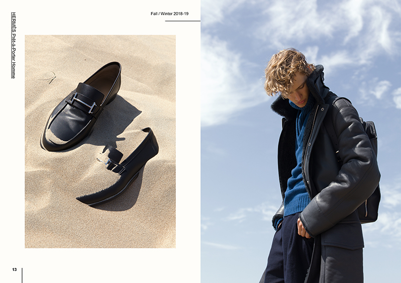 Pictured Left: Leather loafers by Hermès. Right: Mats Engel sports a coat, knitwear, pants, and a backpack from Hermès.