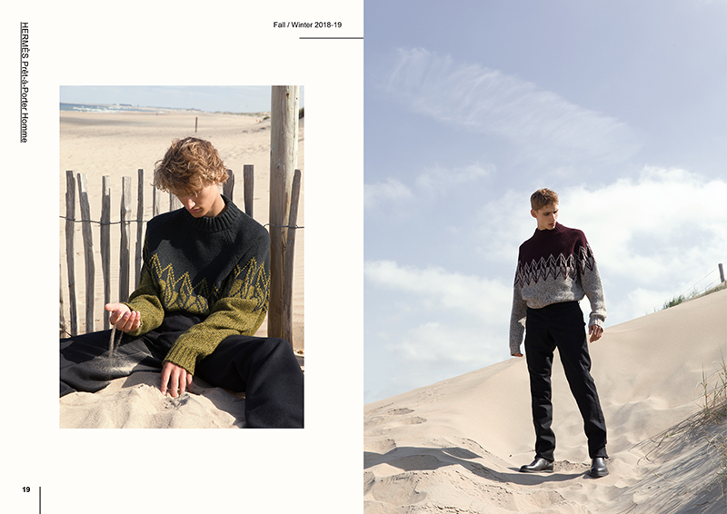 Republic Men models Embracing, Mats Engel and Yanniek Buijs sport fall-winter 2018 looks by Hermès.
