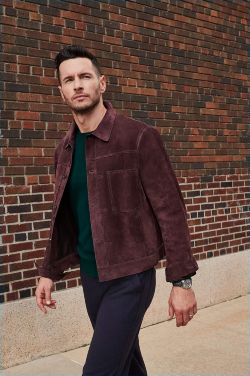 Stepping out in a suede Berluti blouson jacket, JJ Redick aksi wears a Vacheron Constantin watch with Loro Piana sweatpants and a sweater.