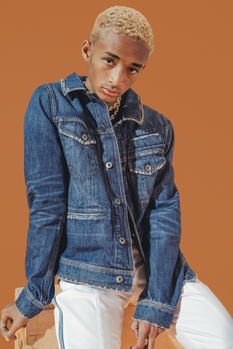 Making a case for double denim, Jaden Smith rocks a jean jacket from his G-Star Raw Forces of Nature collaboration with Louis Vuitton jeans.