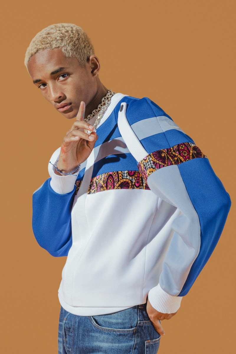 Connecting with GQ, Jaden Smith rocks a Louis Vuitton sweatshirt with his own necklace and a pair of jeans from his G-Star Raw Forces of Nature collaboration.