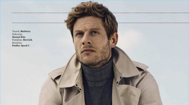 James Norton dons a Burberry trench with a Manuel Ritz turtleneck and Berwich trousers.